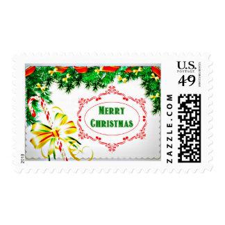 Pine Bough Merry Christmas Postage