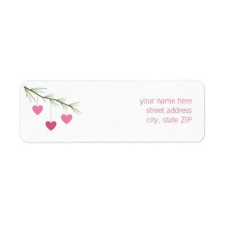 Pine Bough & Pink Hearts Valentine's Address Label