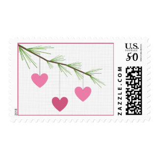 Pine Bough & Pink Hearts Valentine's Postage