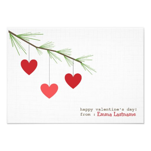 Pine Bough & Red Hearts Valentine's Day Card