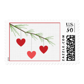 Pine Bough & Red Hearts Valentine's Postage