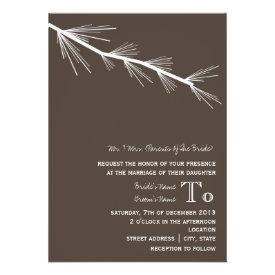 Pine Bough Wedding Invitation Brown