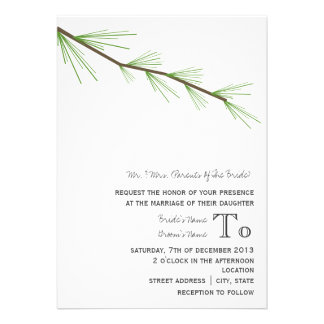 Pine Bough Wedding Invitation From Bride's Parents