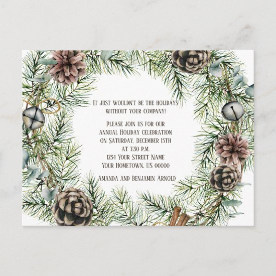 Pine Bough Wreath Pine Cones Bells String Cinnamon Postcard
