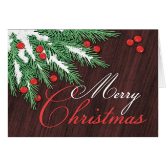 Pine Boughs and Cranberries Christmas Cards