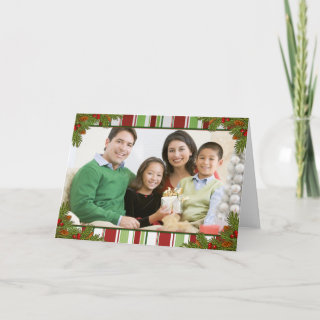 Pine Boughs Berries Christmas Photo Greeting Card