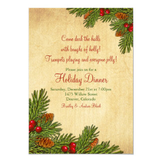 Pine Boughs Holiday Dinner Party Invitation