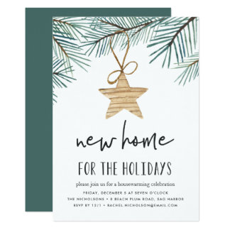 Pine Boughs Holiday Housewarming Party Invitation
