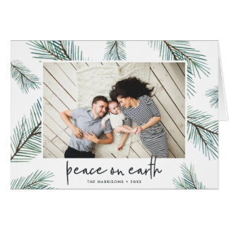 Pine Boughs   Holiday Photo Folded Card