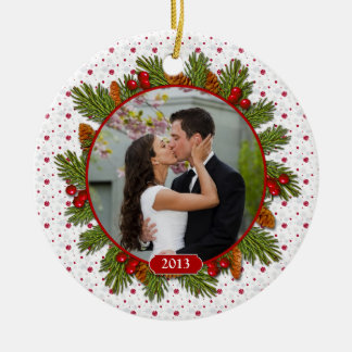 Pine Boughs Holly 1st Christmas Together Photo Ceramic Ornament