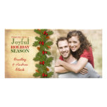 Pine Boughs Holly Berries Christmas Xmas Photocard Photo Cards