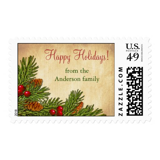 Pine Boughs Holly Berries Christmas Xmas Postage