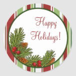 Pine Boughs Holly Berries Christmas Xmas Stickers