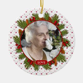 Pine Boughs Holly Berries Memorial Photo Christmas Ceramic Ornament