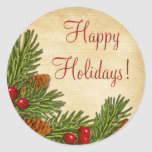 Pine Boughs Holly Berries Xmas Christmas Classic Round Sticker