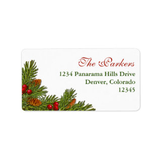 Pine Boughs Holly Berry Xmas Return Address Label