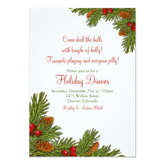 Pine Boughs Holly Christmas Holiday Party Card