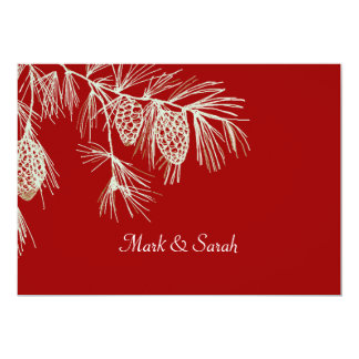 Pine Boughs Red Invitation