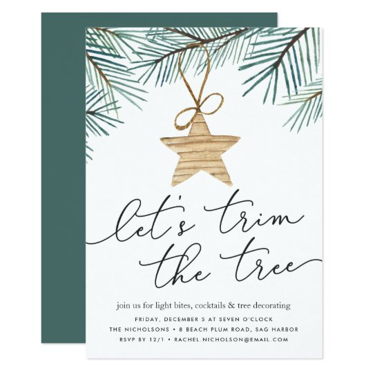 Pine Boughs Tree Trimming Party Invitation – Tree Trimming Party Invitation