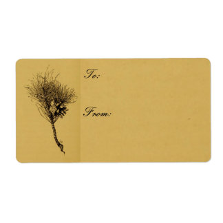 pine branch gift tag