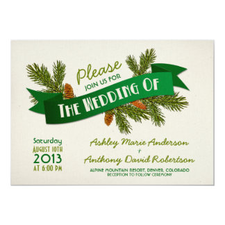 Pine Branches Cones Camping Glamping Wedding Personalized Invitations