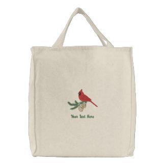 Pine Cardinal Embroidered Tote Bag