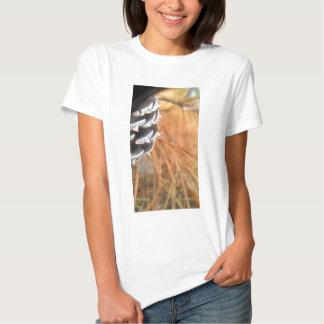 pine cone and golden needles tee shirt