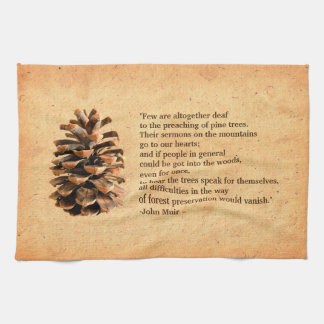 Pine Cone And John Muir Quote Hand Towel