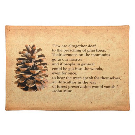 Pine cone and john muir quote placemat zazzle
