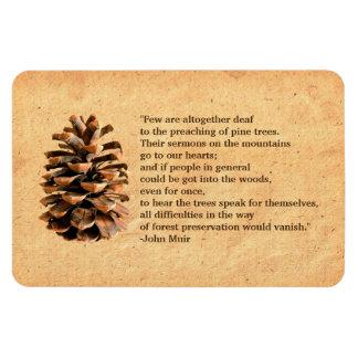Pine Cone And John Muir Quote Rectangular Photo Magnet