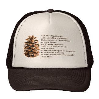 Pine Cone And John Muir Quote Trucker Hat