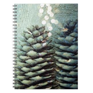 Pine cone Bokeh Christmas Lights Spiral Notebook