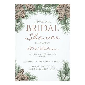 Pine Cone Bridal Shower Invitation, Winter Wedding Invitation