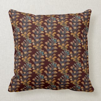 Pine Cone Brown and Blue Watercolor  Pillow 20x20