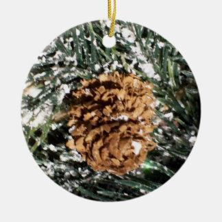 Pine Cone Ceramic Ornament
