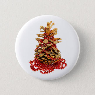 Pine cone christmas tree with strand of red beads. button