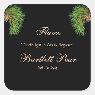 Pine Cone Corners on Black Candle Label Square Sticker