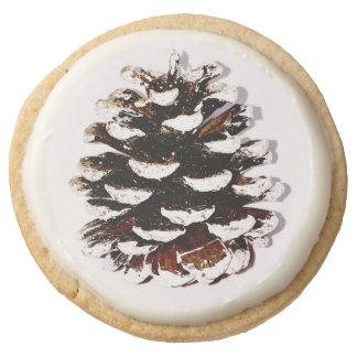 Pine Cone Design shortbread cookie