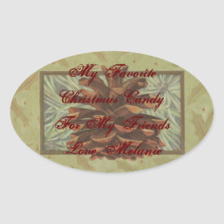 Pine Cone Favorite Candy Baked Food Gift Label Oval Sticker