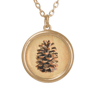Pine Cone Gold Plated Necklace