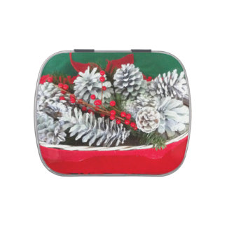 Pine Cone Holly Decoration Jelly Belly Candy Tins