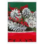 Pine Cone Holly Decoration Greeting Cards