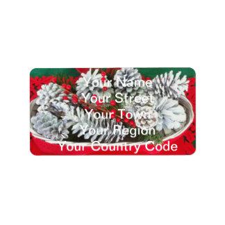 Pine Cone Holly Decoration Address Label