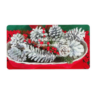 Pine Cone Holly Decoration Shipping Label