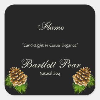 Pine Cone Illustration Candle Label Square Sticker