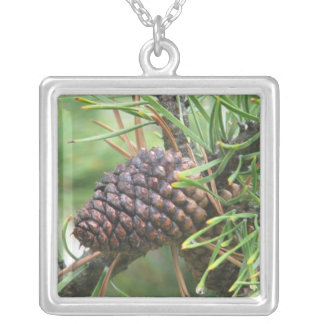 Pine Cone in Yellowstone Silver Plated Necklace