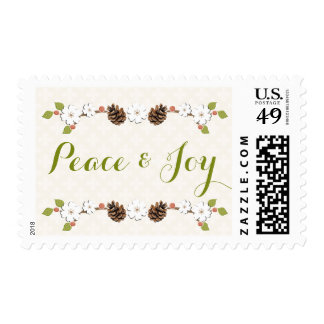 Pine Cone Laurel Peace and Joy Postage Stamps