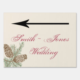 Pine Cone Nature on Cream Wedding Direction Sign