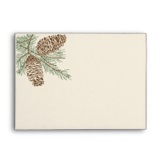 Pine Cone Nature on Cream Wedding Envelope