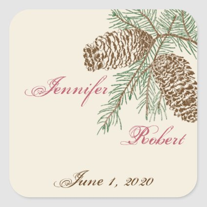 Pine Cone Nature on Cream Wedding Envelope Seal Stickers